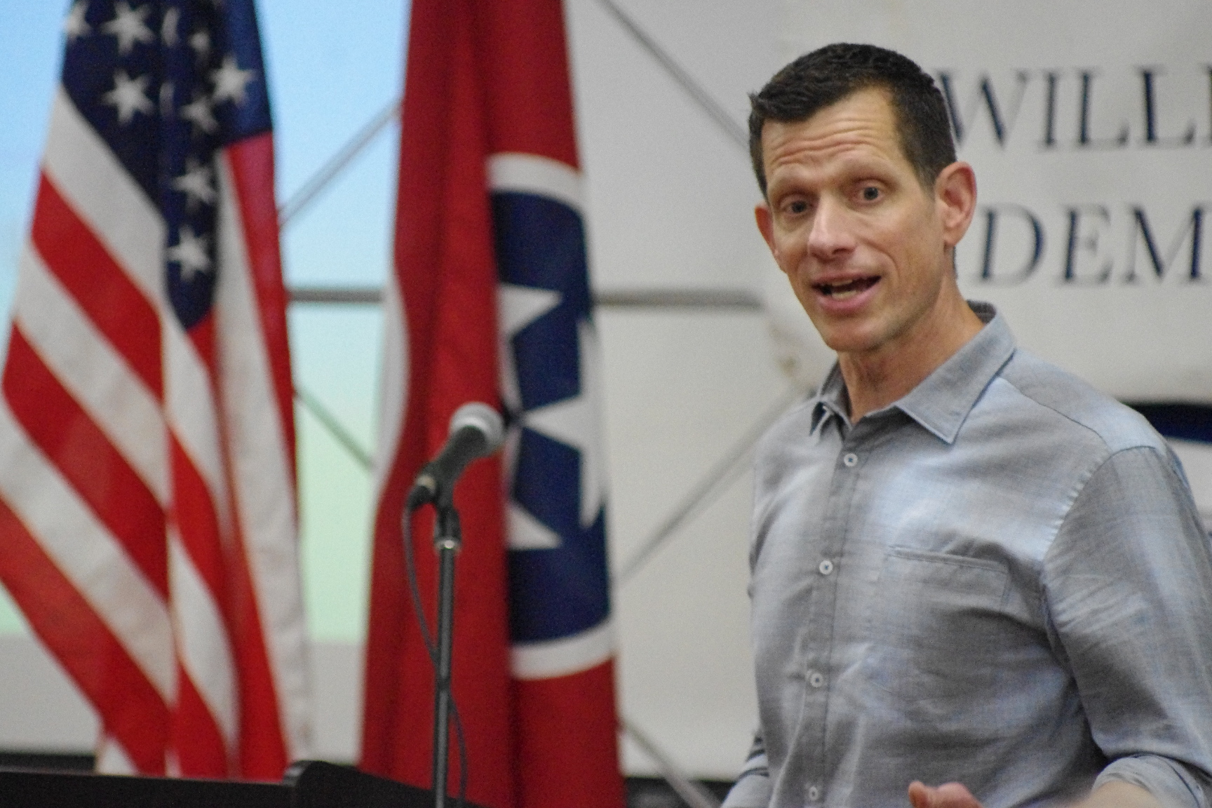Democratic U.S. Senate Candidate James Mackler breaks down positions on health care, gun control and more during campaign rally in Franklin