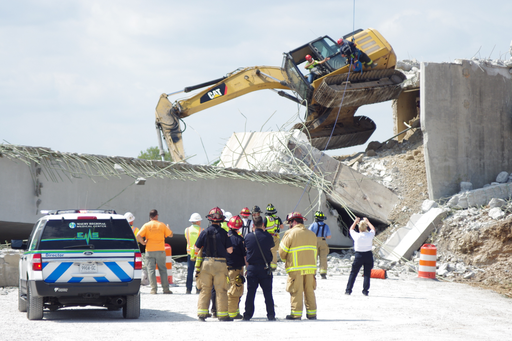 Construction worker rescued by Spring Hill Fire Department after bridge collapses