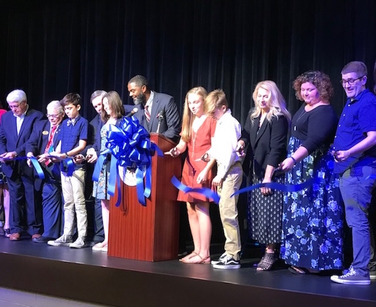 New theater at Grassland Middle School gets student-tested during ribbon cutting