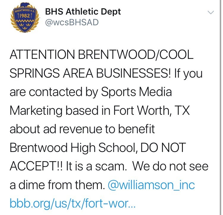 Brentwood High School AD warns local businesses of resurfaced athletics scam