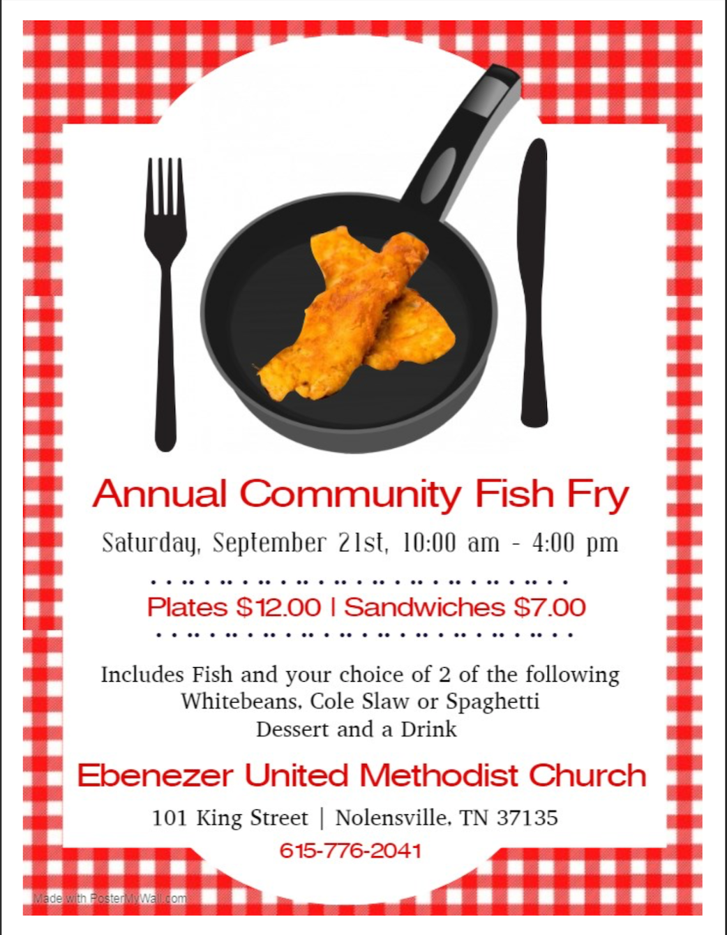Ebenezer United Methodist Church sets date for annual fish fry