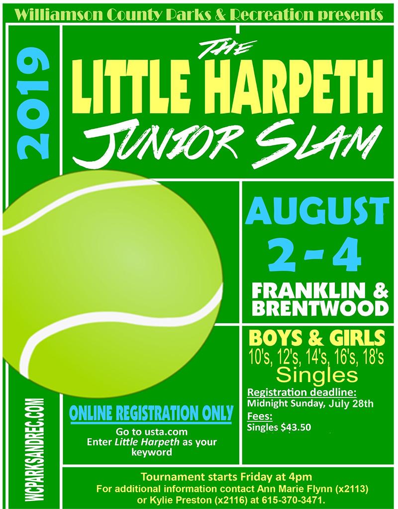 Registration open for Little Harpeth Junior Slam Tennis Classic