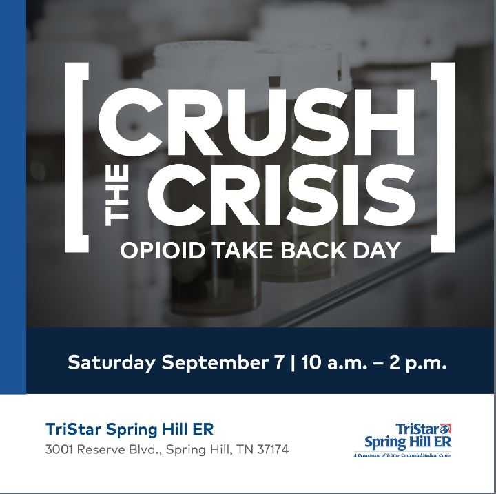 TriStar Spring Hill ER to host an opioid take back event Saturday